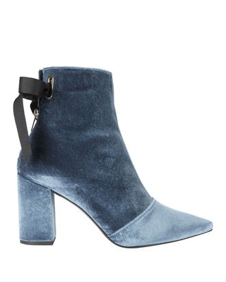 Robert Clergerie X Self-Portrait Karli Blue Velvet Lace-Up Booties, BLUE, hi-res