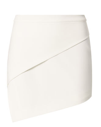Asymmetric Hem White Mini Skirt, WHITE, hi-res