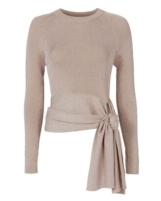 Lurex Waist Tie Sweater, BLUSH/NUDE, hi-res