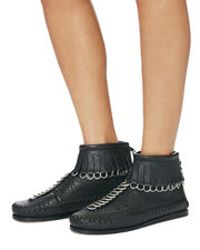 Black Montana Moccasin Booties, BLACK 2, hi-res