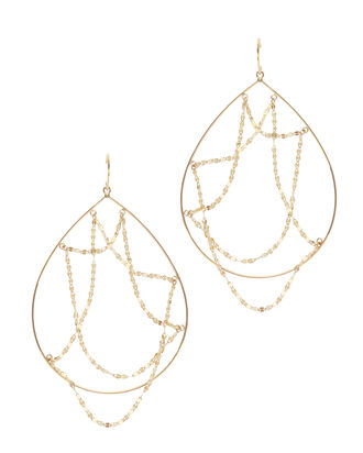 Oval Web Hoop Earrings, METALLIC, hi-res