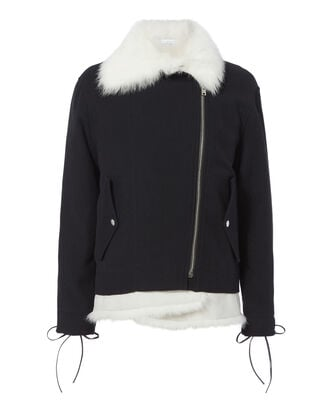 Bells Removable Fur Vest Jacket, NAVY, hi-res