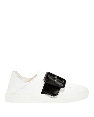 Satin Buckle Sneakers, WHITE, hi-res