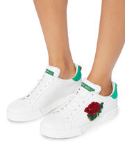 Sequin Floral Low-Top Sneakers, WHITE, hi-res