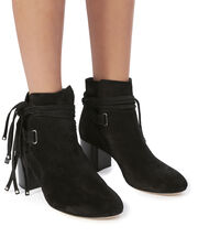 Dalla II Wrap Tie Grommet Booties, BLACK, hi-res