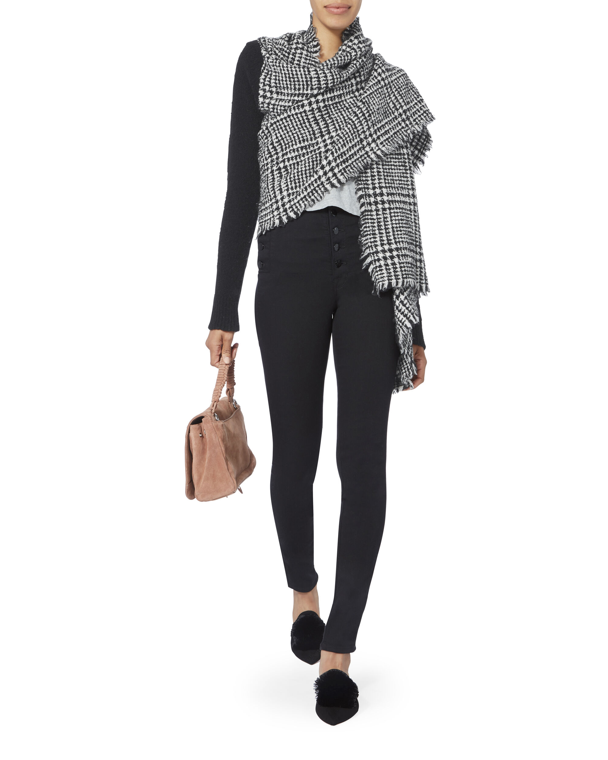 Catrinella Houndstooth Wrap Top, BLACK/WHITE, hi-res