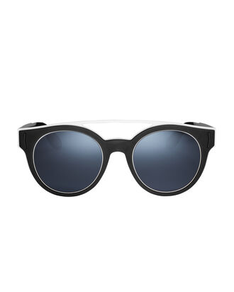 Black-And-White Rubber Logo Sunglasses, BLACK/WHITE, hi-res