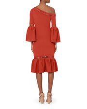 Chainlink Fit-and-Flare Knit Dress, RED, hi-res