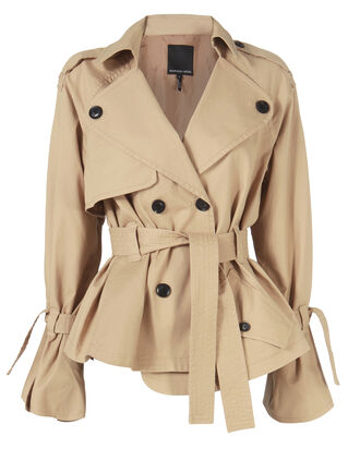 Winfield Short Trench Coat, BEIGE/KHAKI, hi-res