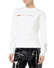 Embellished White Pullover, WHITE, hi-res