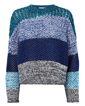 Open Knit Colorblock Blue Sweater, BLUE-MED, hi-res