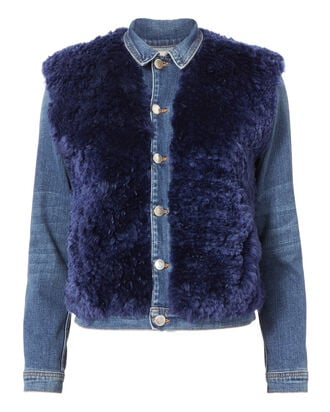 Carolina Shearling Denim Jacket, DENIM, hi-res