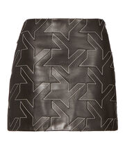 Houndstooth Leather Mini Skirt, BLACK, hi-res