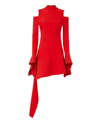 Alia Cold Shoulder Mini Dress, RED, hi-res
