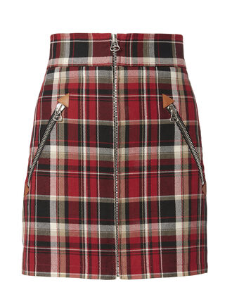 Leah Plaid Mini Skirt, RED, hi-res