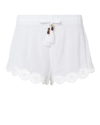 Crochet Trim Tassel Shorts, WHITE, hi-res