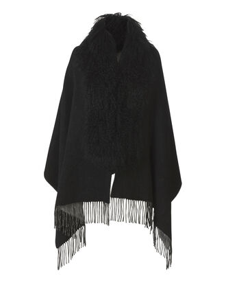 Shearling Collar Reversible Black Shawl, BLACK, hi-res
