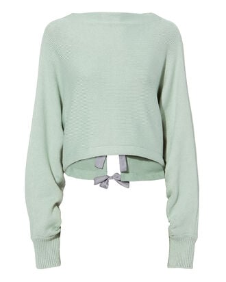 Tie Back Cropped Pullover, GREEN-LT, hi-res