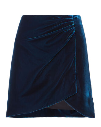 Velvet Wrap Mini Skirt, BLUE-MED, hi-res