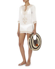 Embroidered Short Tunic, WHITE, hi-res