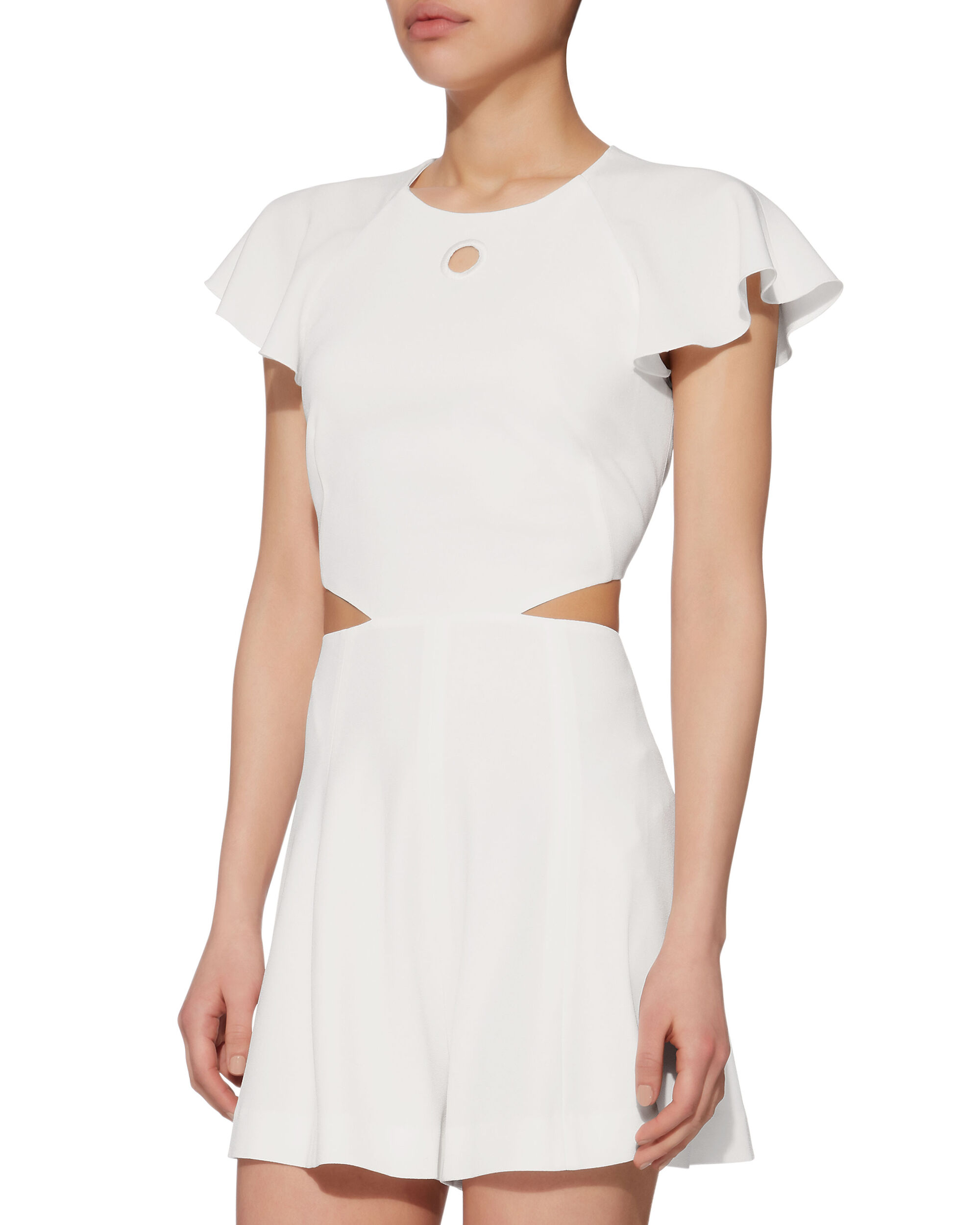 Side Cutout Romper, WHITE, hi-res