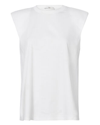 Padded Shoulder Sleeveless Top, WHITE, hi-res