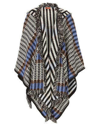 Hooded Fringe Trim Wrap, MULTI, hi-res