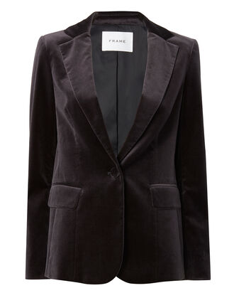 Charcoal Velvet Blazer, GREY, hi-res