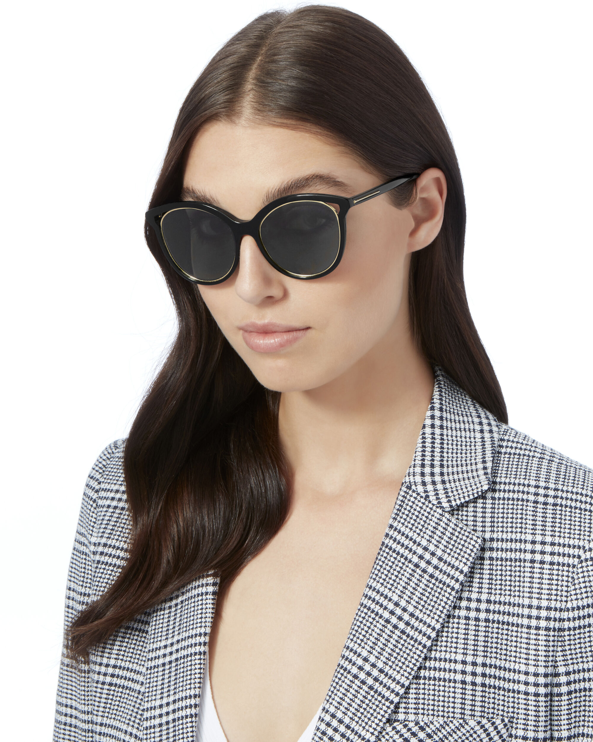 Black Cut Away Kitten Sunglasses, BLACK, hi-res