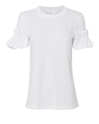 White Pleated-Sleeve T-Shirt, WHITE, hi-res