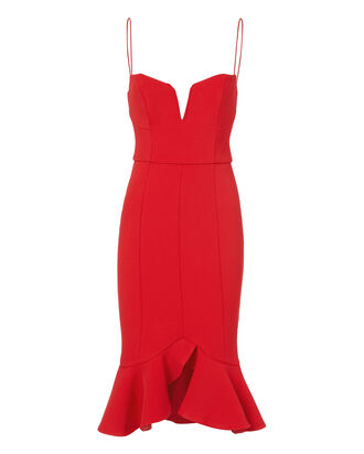Flip Hem Bra Dress, RED, hi-res