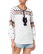 Savannah Embroidery Top, WHITE, hi-res