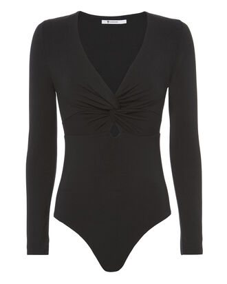 Twist Front Knit Bodysuit, BLACK, hi-res
