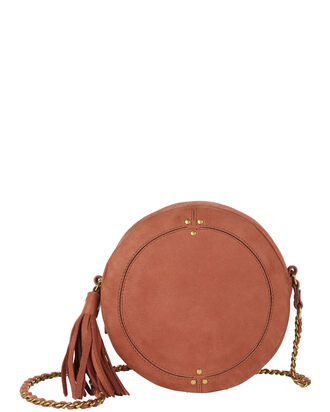 Remi Circle Rose Leather Shoulder Bag, BROWN, hi-res
