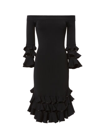 Off Shoulder Slashed Knit Dress, BLACK, hi-res