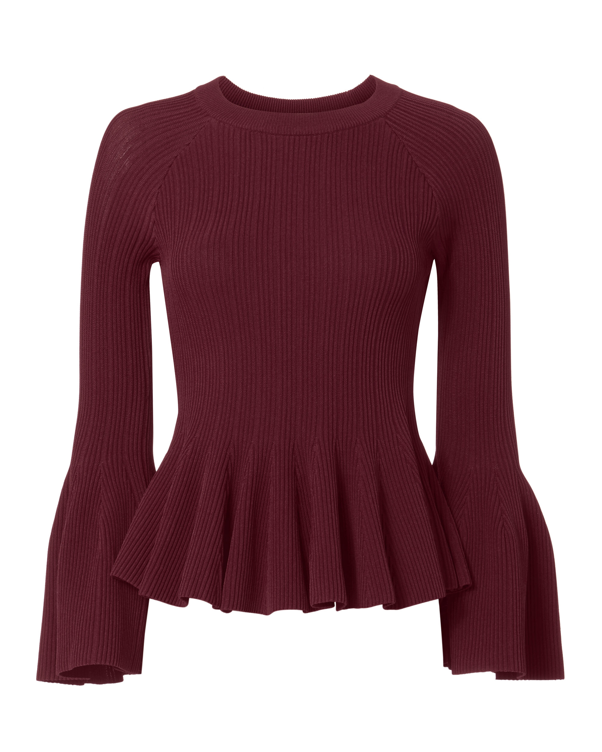 Bell Sleeve Ribbed Top, RED-DRK, hi-res