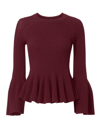 Bell Sleeve Ribbed Top, RED, hi-res