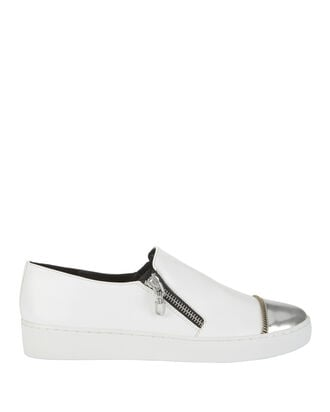 Silver Cap Toe White Leather Sneakers, , hi-res