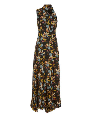 Ava Floral Tie Neck Maxi Dress, PRINT, hi-res