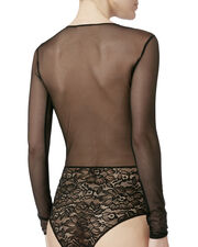 Long-Sleeved Lace and Mesh Bodysuit, , hi-res