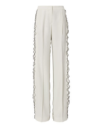 Ruffle Trim Wide Leg Pants, WHITE, hi-res