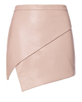 Asymmetric Hem Leather Mini Skirt, NUDE, hi-res