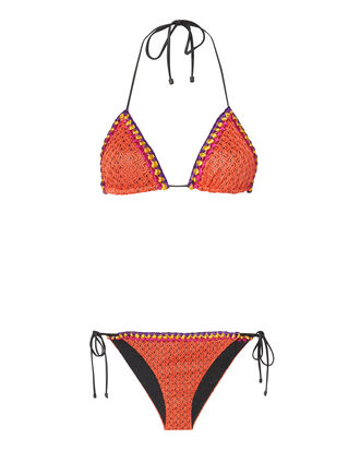 Multicolor Crochet Trim Bikini, RED, hi-res