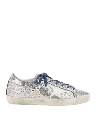 Superstar Blue Lace Silver Glitter Sneakers, METALLIC, hi-res