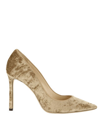 Romy Blonde Crushed Velvet Pumps, YELLOW, hi-res