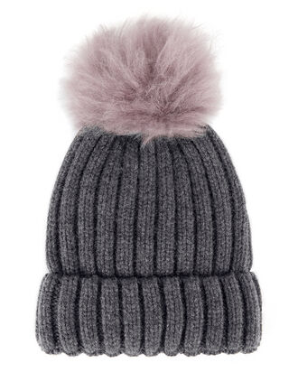 Shearling Pom-Pom Grey Hat, GREY, hi-res