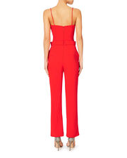Metal-Embellished Red Jumpsuit, RED, hi-res