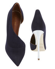 Crystal D'Orsay Suede Pumps, NAVY, hi-res