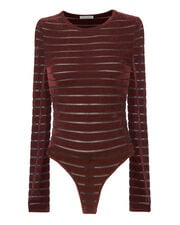 Chani Chenille Striped Bodysuit, RED, hi-res