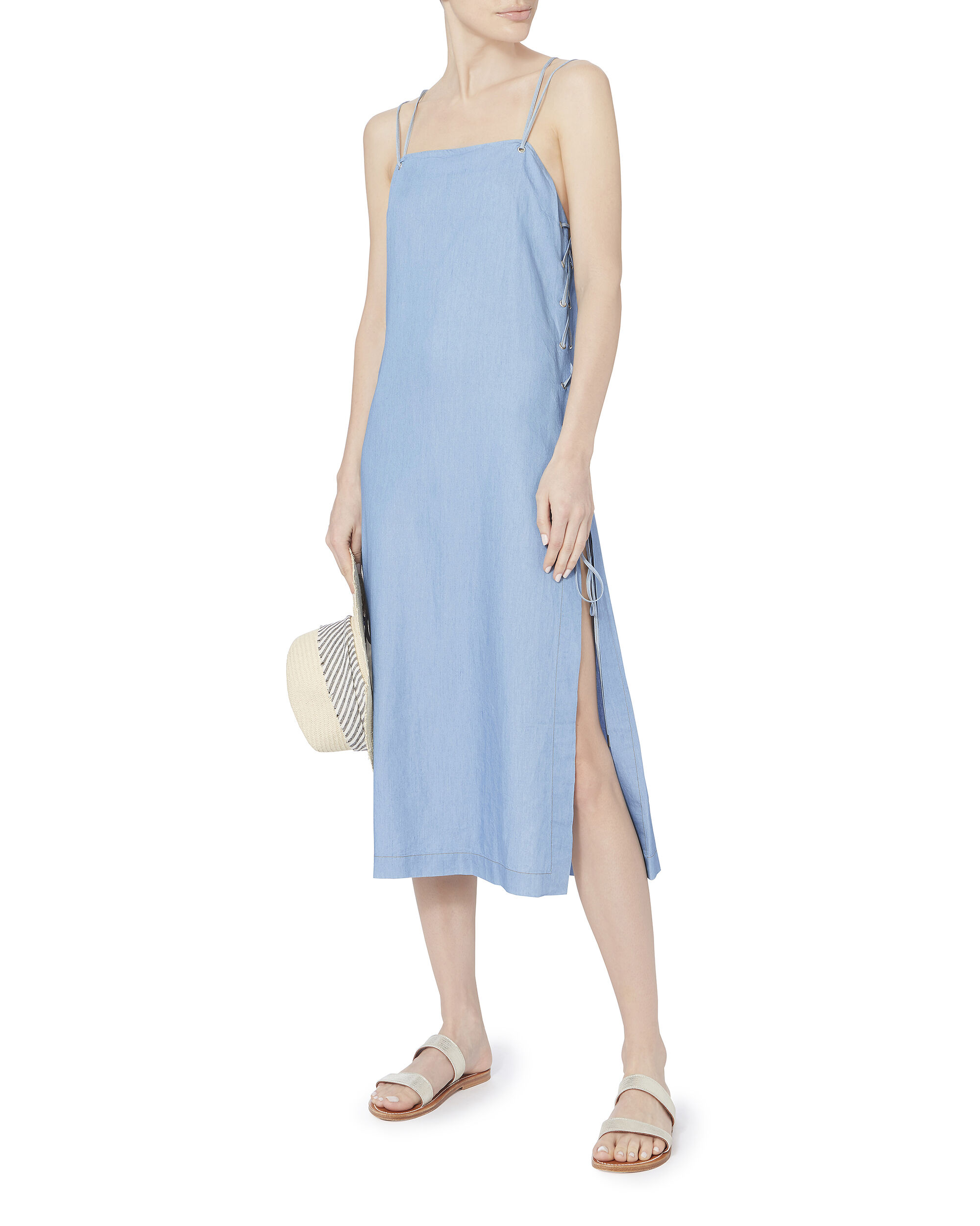 Lace-Up Chambray Coverup Dress, DENIM, hi-res